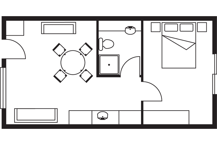resort 1 bedroom apartment room layout