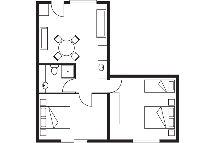 resort 2 bedroom apartment room layout